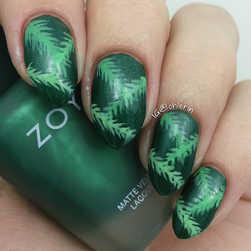 Leaves nail art by Lindsay