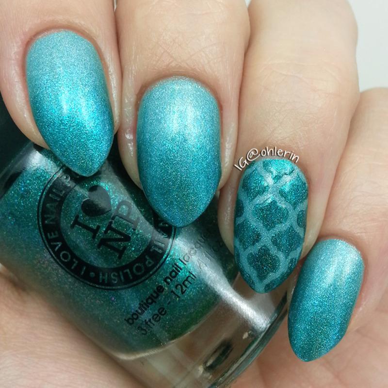 Teal nail art by Lindsay