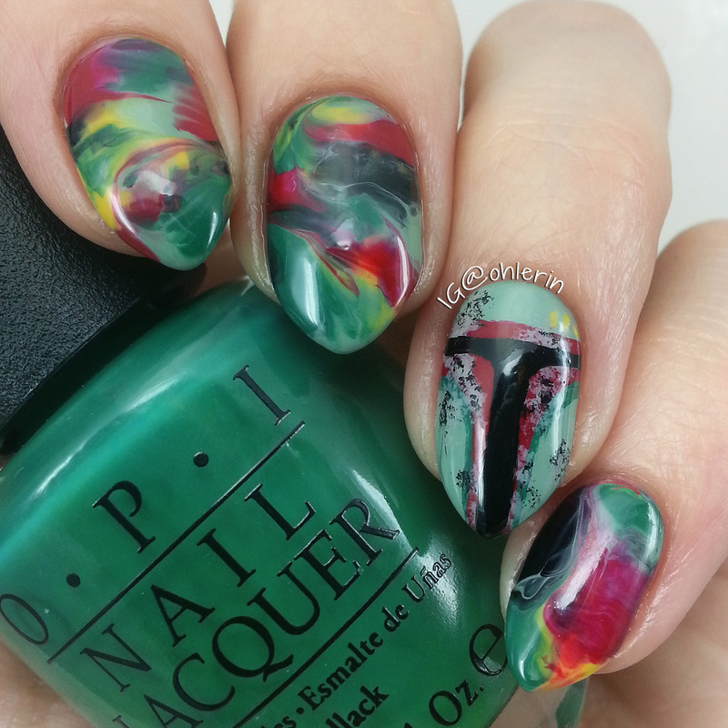 Boba Fett nail art by Lindsay
