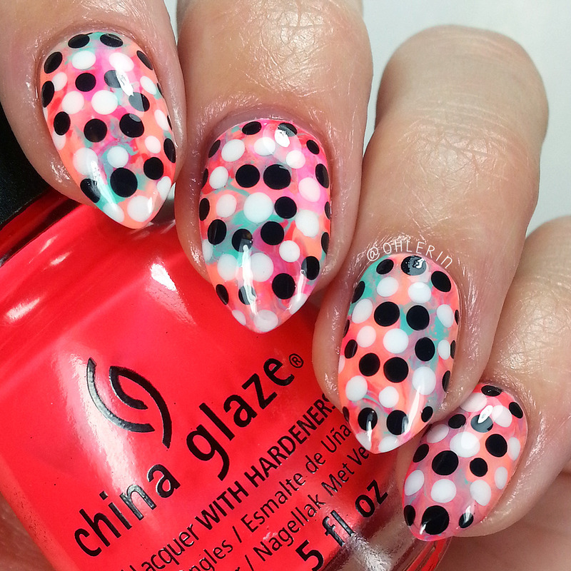 Spiral dots nail art by Lindsay