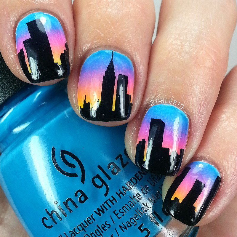 City skyline nail art by Lindsay