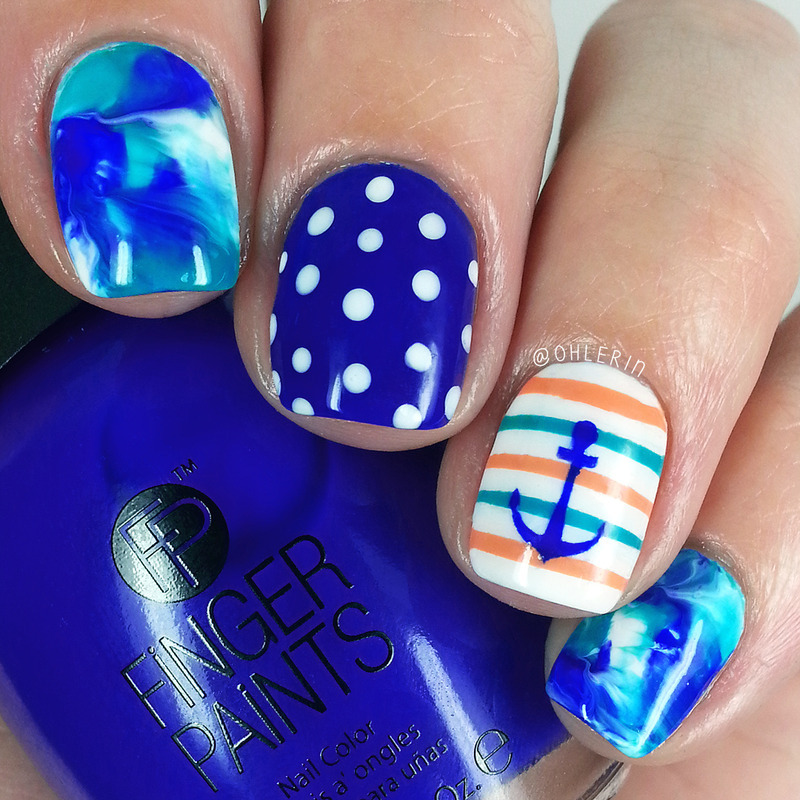 Nautical nail art by Lindsay