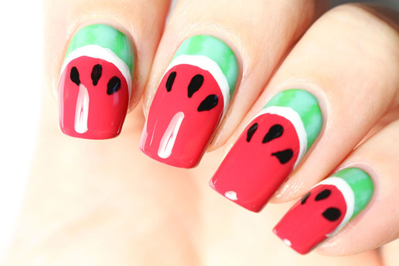 Watermelon nail art by Tribulons