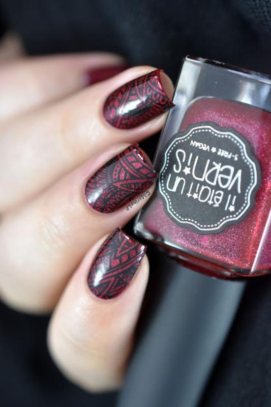 Red aztec nail art by Marine Loves Polish