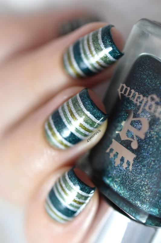 Green stripes nail art by Marine Loves Polish