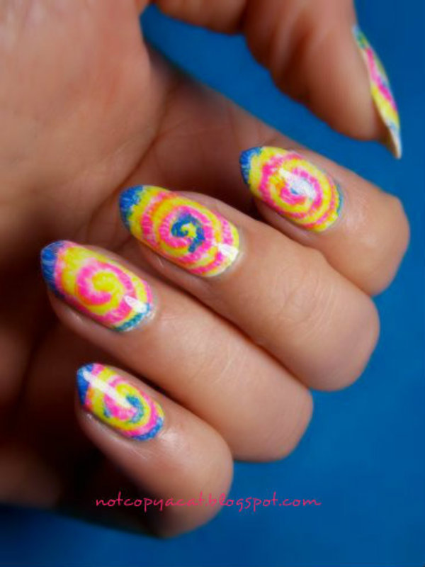 Tie dye. nail art by notcopyacat