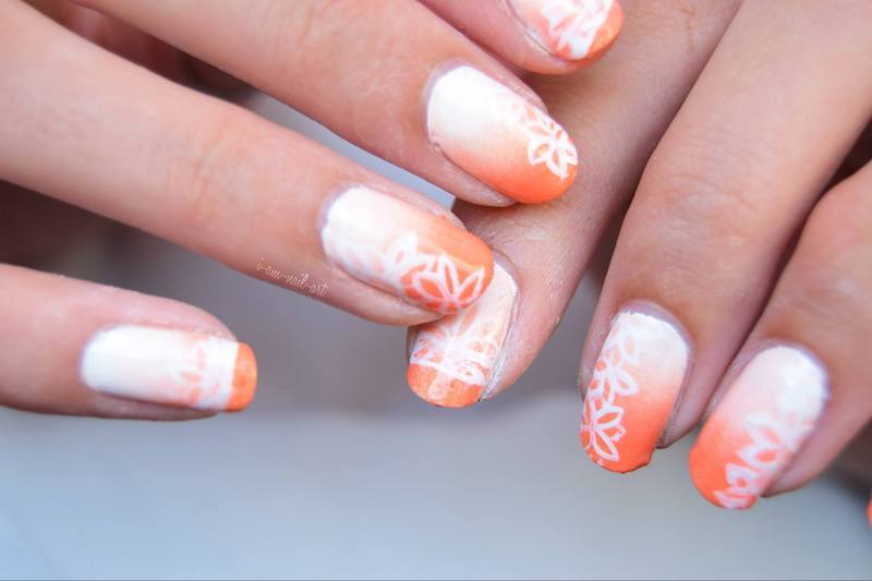 Flowers on Orange Gradient nail art by i-am-nail-art