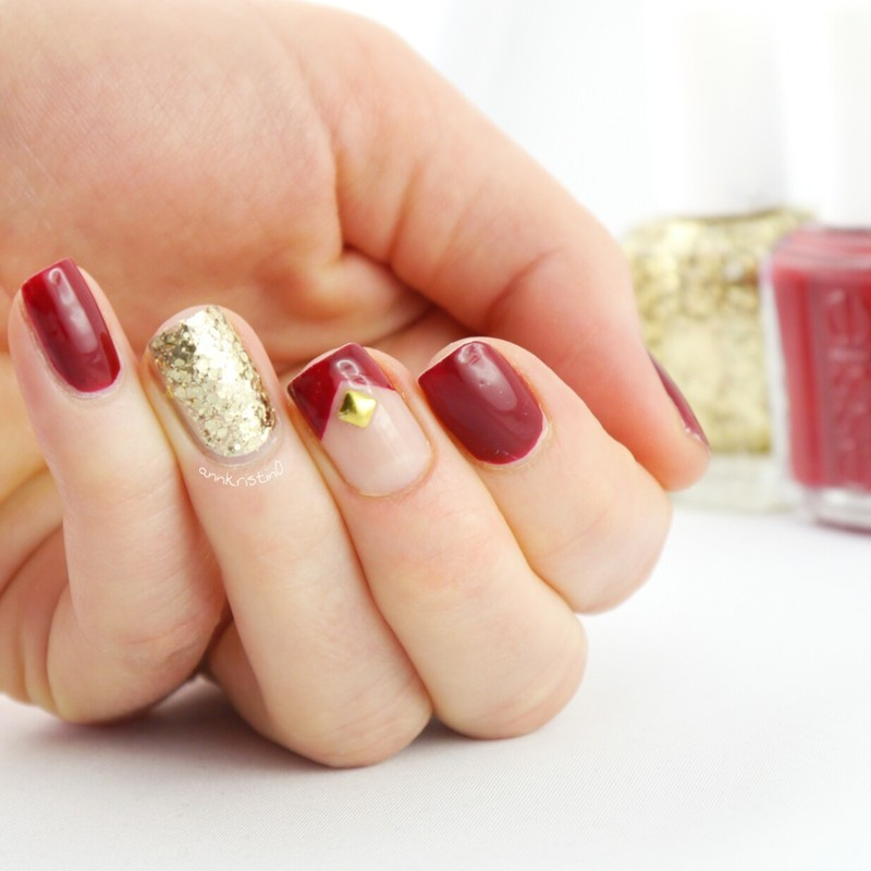 Golden Stud Red nail art by Ann-Kristin