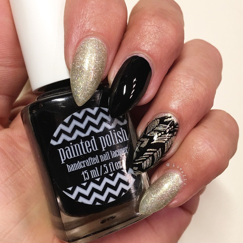 Black'n'gold stamping! nail art by Henulle