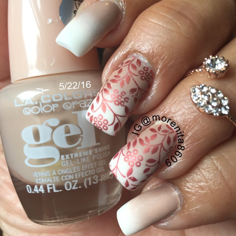 Matte Floral French Gradient! nail art by Morenita  Morena