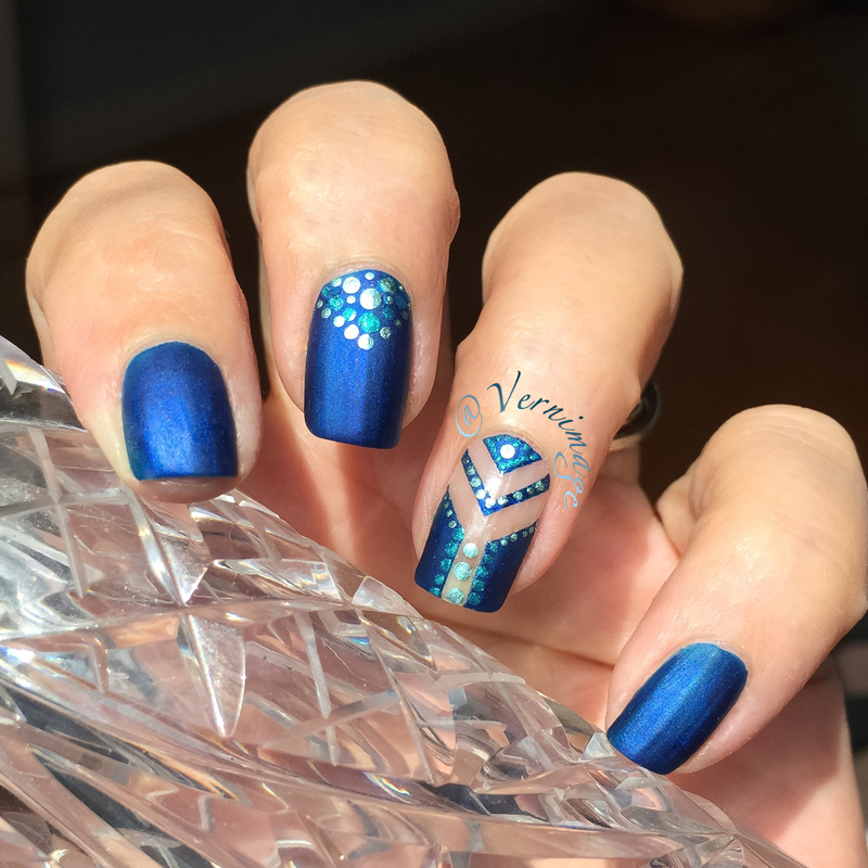 Negative space and dotticure nail art by Vernimage