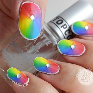 Freehand Acrylic-Gradient Rainbow/Prism!  nail art by Ithfifi Williams