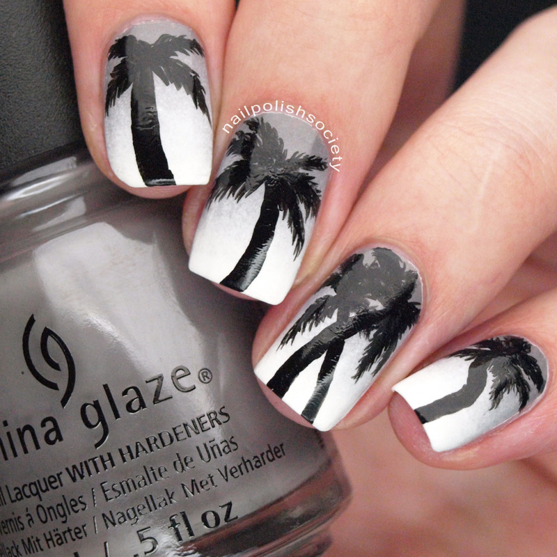 Tropical Monochrome nail art by Emiline Harris