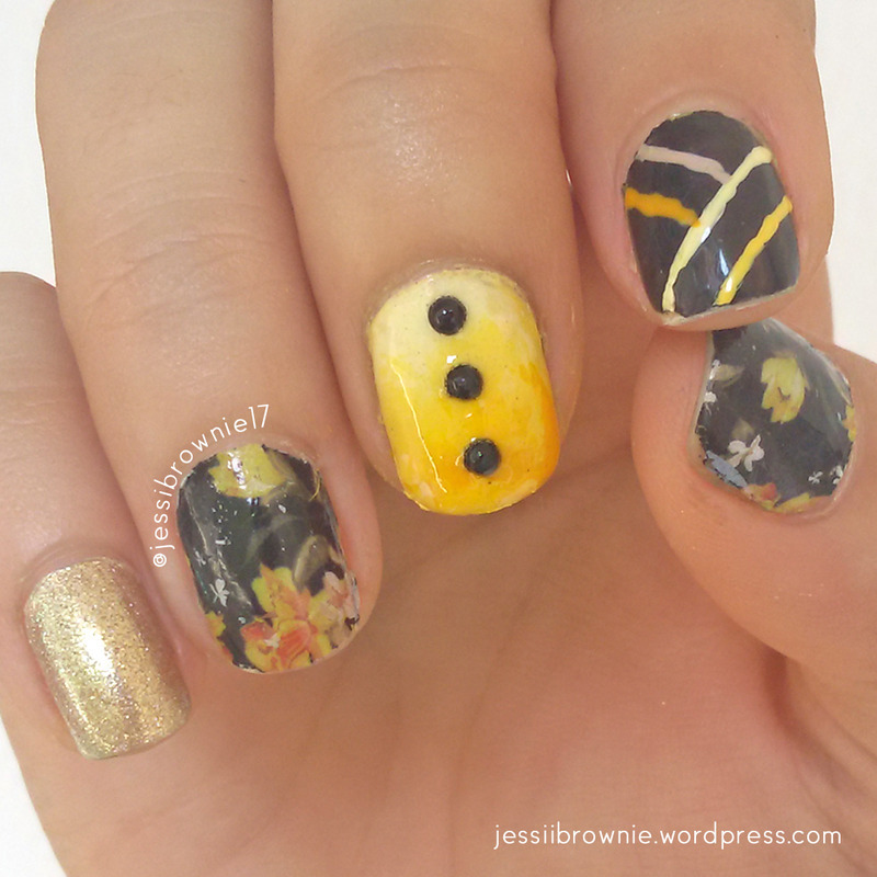 Black & Yellow - Mix and Match nail art by Jessi Brownie (Jessi)