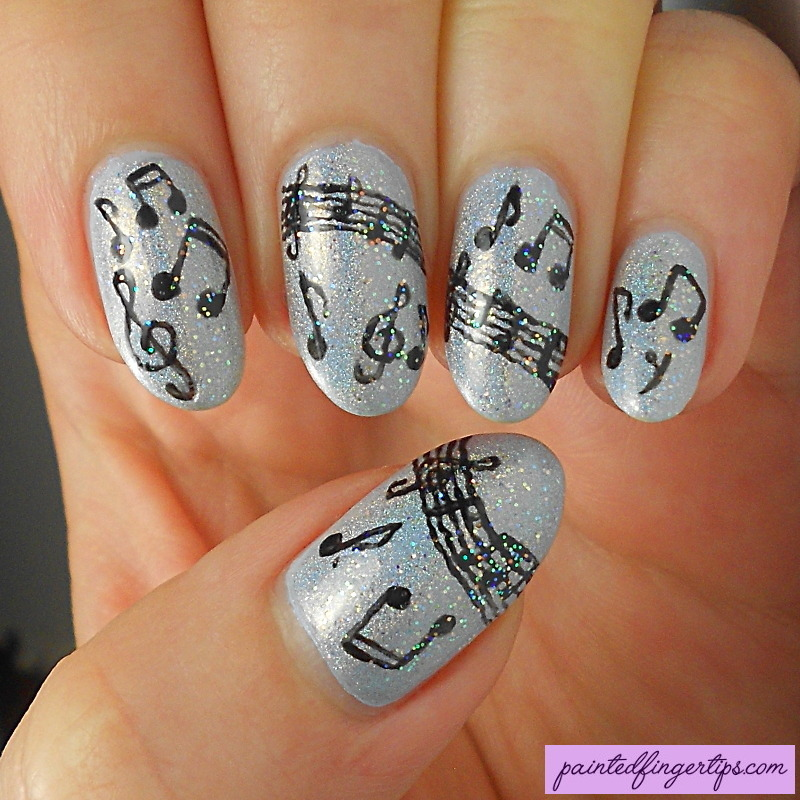 Freehand Musical Notes nail art by Kerry_Fingertips