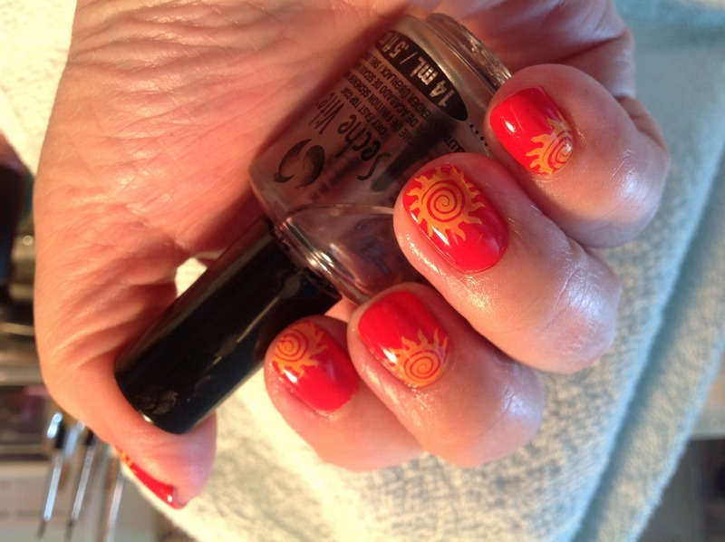 Here comes the sun nail art by Ronit