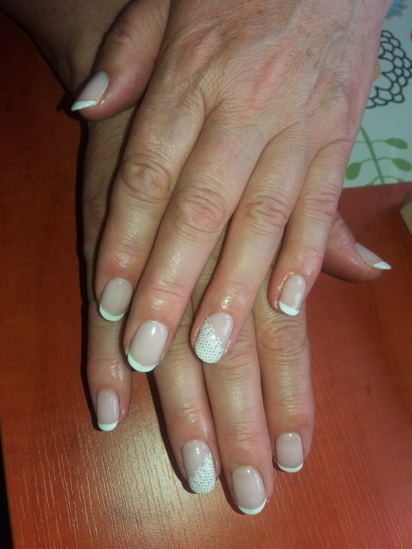 Classic french with lace nail art by Magda
