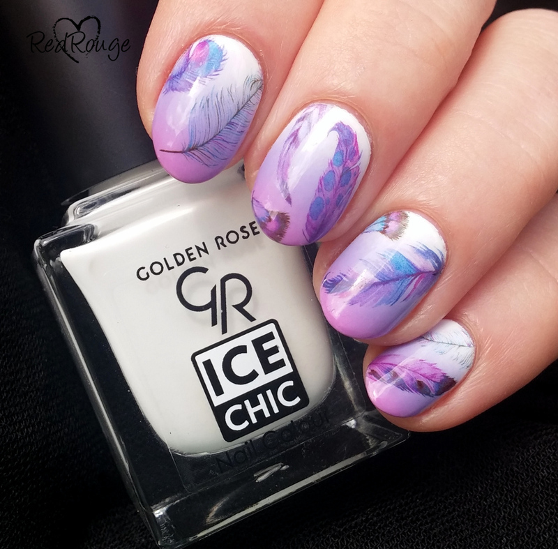 Purple feathers nail art by RedRouge