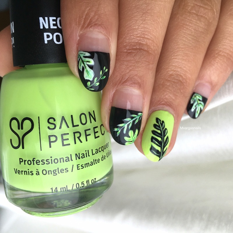 Tropical leaves  nail art by Massiel Pena
