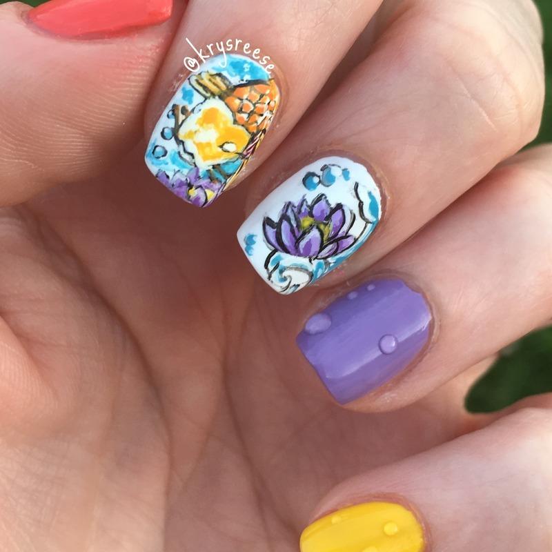 💧koi and lotus flower💦 nail art by Krystal Reese