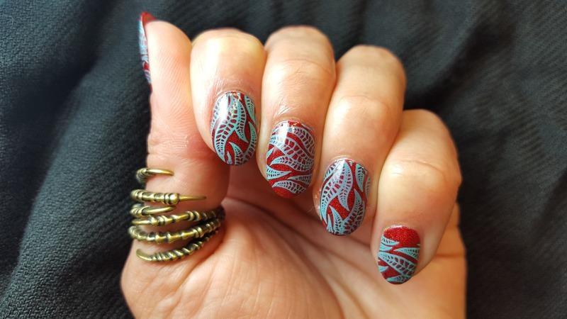Sea Fan nail art by Alisha Worth