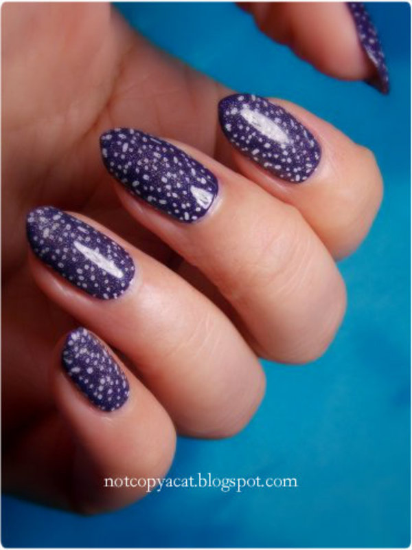 Galaxy/a piece of fabric/snowy sky - use your imagination :) nail art by notcopyacat