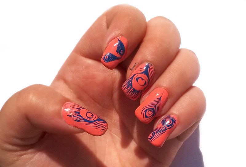 Peacock nail art by Nanneri