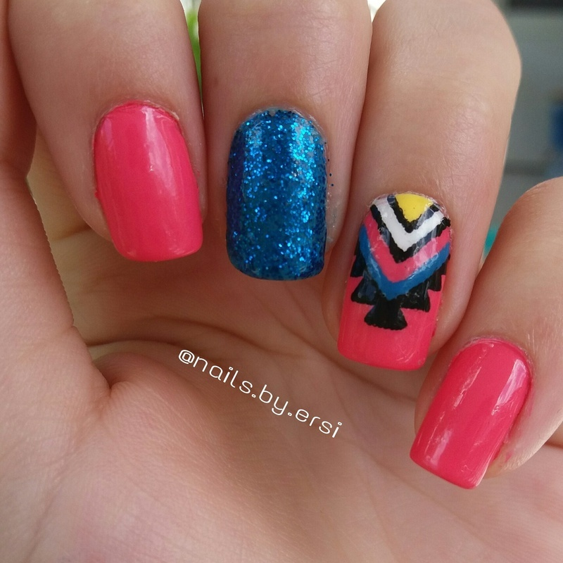 Aztec Design nail art by NailsByErsi