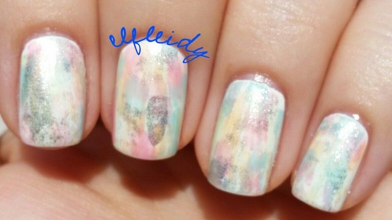 Pastel dry brush nail art by Jenette Maitland-Tomblin