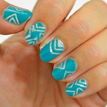 Teal and Silver  nail art by NailsContext