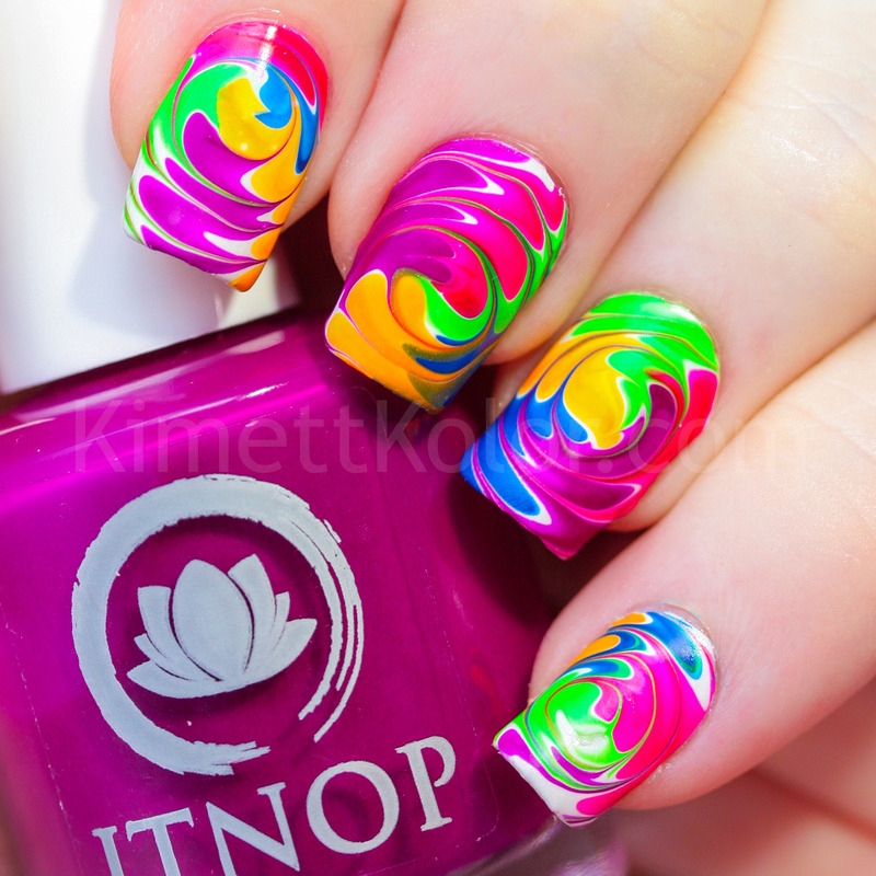 Neon Drag Marble Swirls nail art by Kimett Kolor