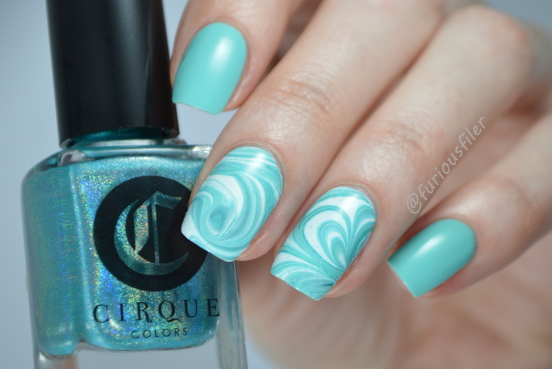 Seaside Water Marble  nail art by Furious Filer