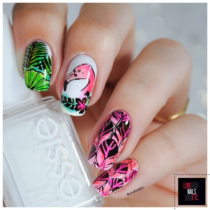 Flamingo feathers nail art by Love Nails Etc