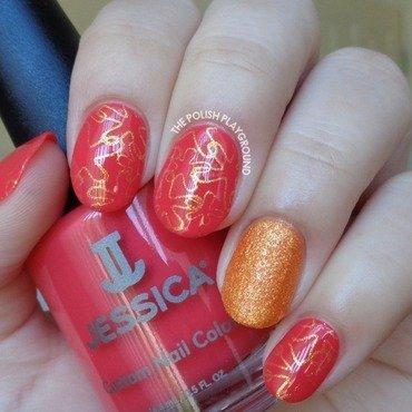 Coral Pink and Gold Starfish Stamping nail art by Lisa N