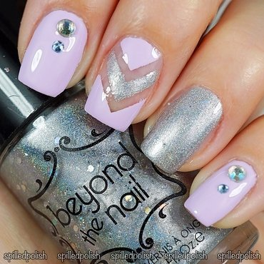 Lilac & Silver Holo nail art by Maddy S