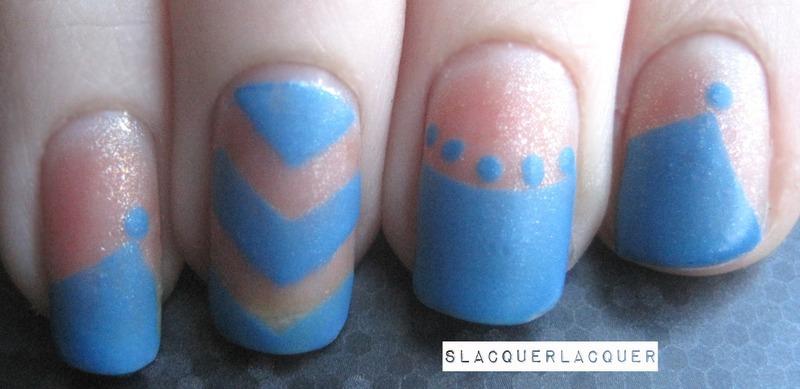 Mismatched Blue nail art by Tina