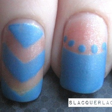 Mismatched Blue nail art by Tina