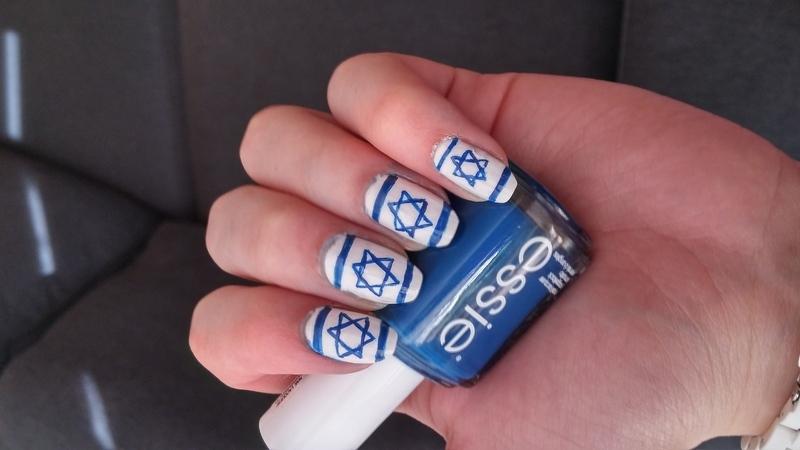 israel flag nail art by Maya Harran