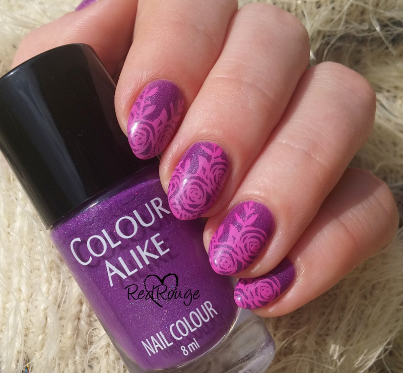 Pink flowers on purple holo nail art by RedRouge