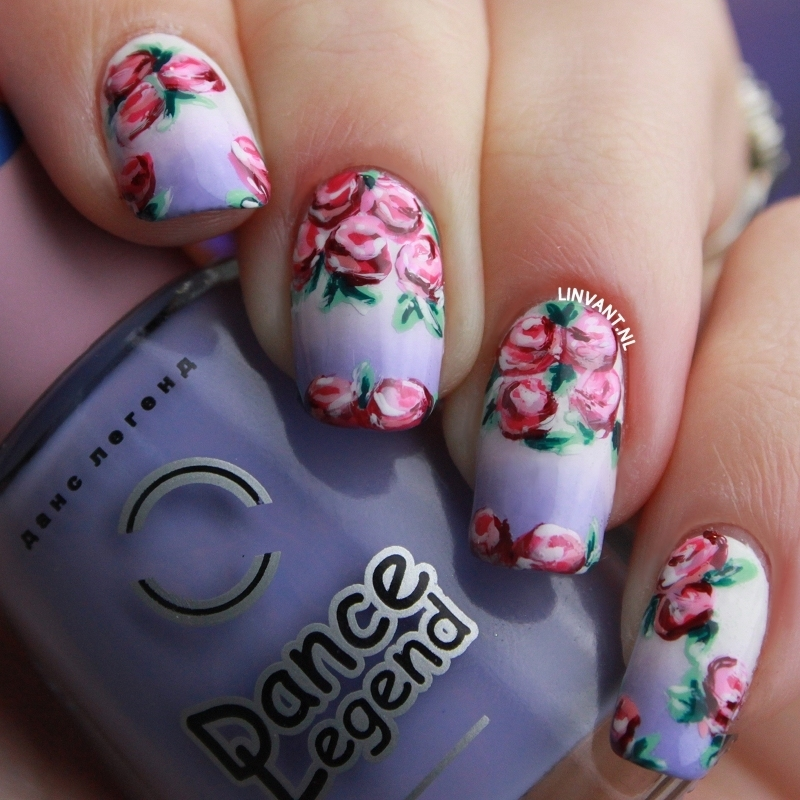 Purple Roses nail art by Lin van T
