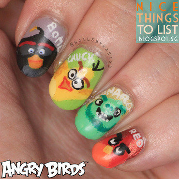 Angry Bird Movie Nail Art nail art by Karise Tan