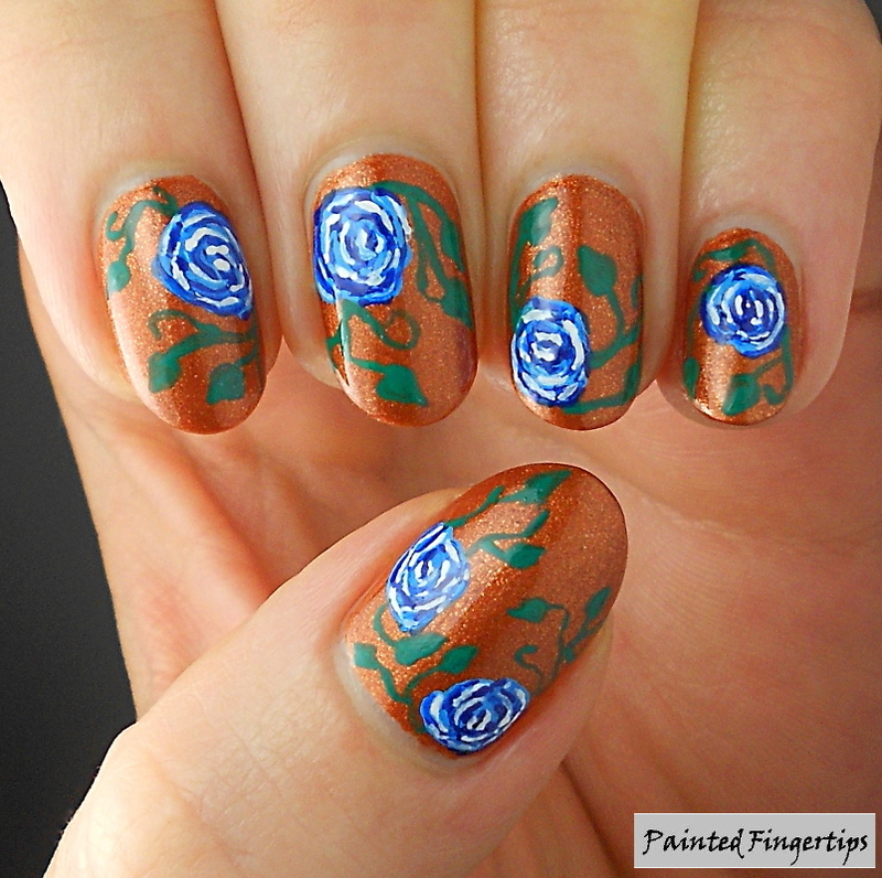 Blue roses nail art by Kerry_Fingertips