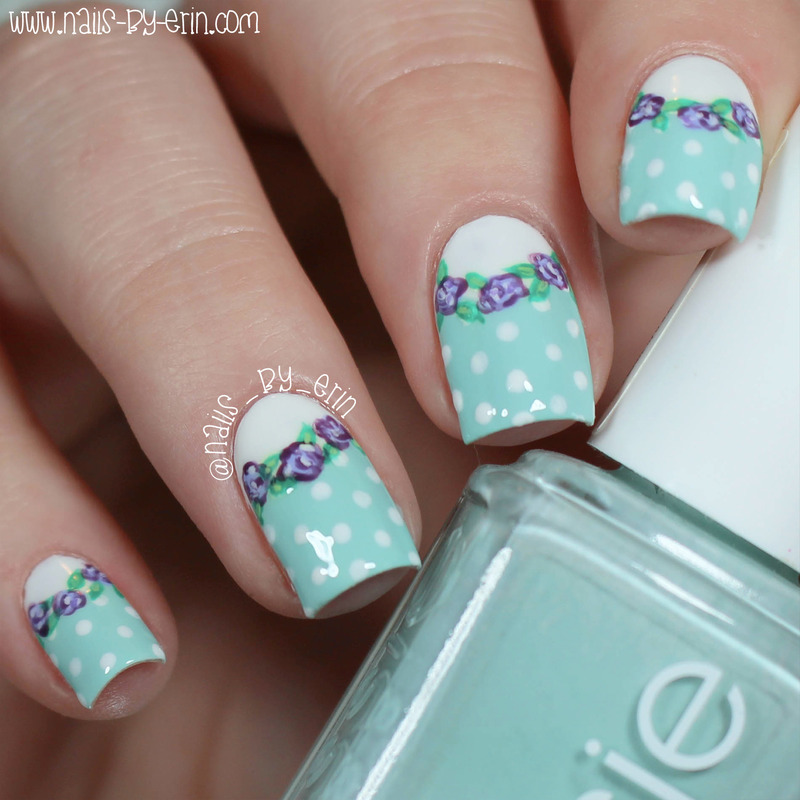 Pastel Floral and Polka Dot Nails nail art by Erin