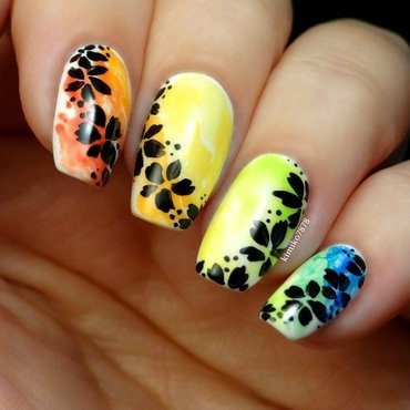 Rainbow floral nail art by Kim