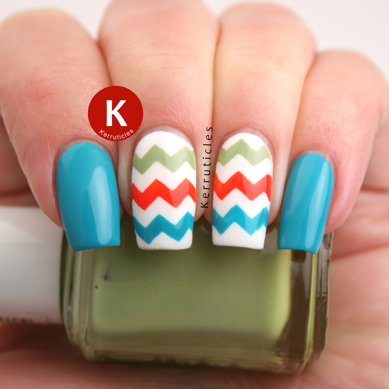 Multicoloured zigzags nail art by Claire Kerr