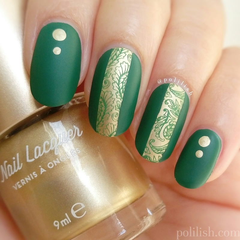 Green and gold reverse stamping nail art by polilish
