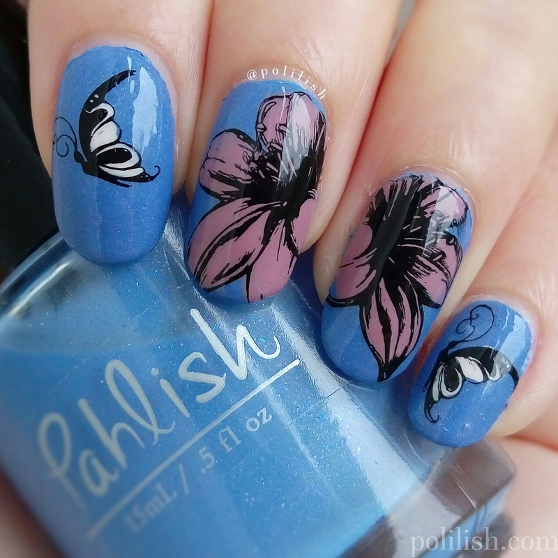 Flowers and butterflies (reverse stamping) nail art by polilish