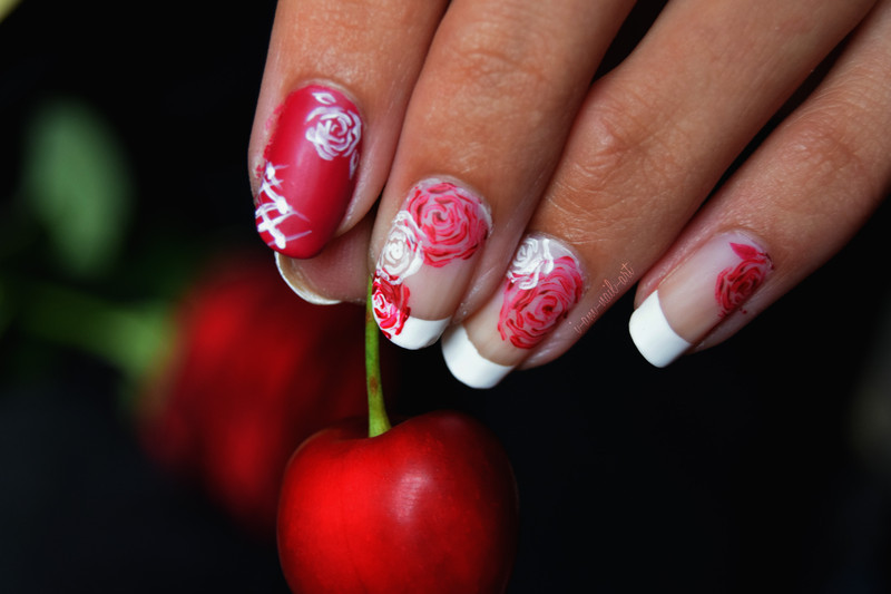 French Roses nail art by i-am-nail-art