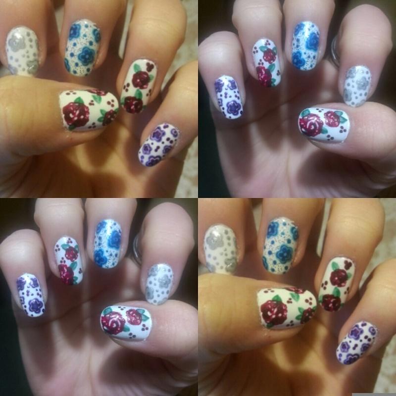 Mix them flowers! nail art by 9Sh4DeSOfBl4ckBooD