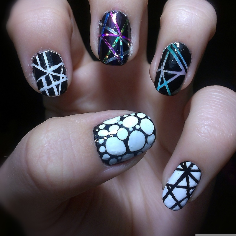 Mix & match with striping tape nail art by 9Sh4DeSOfBl4ckBooD